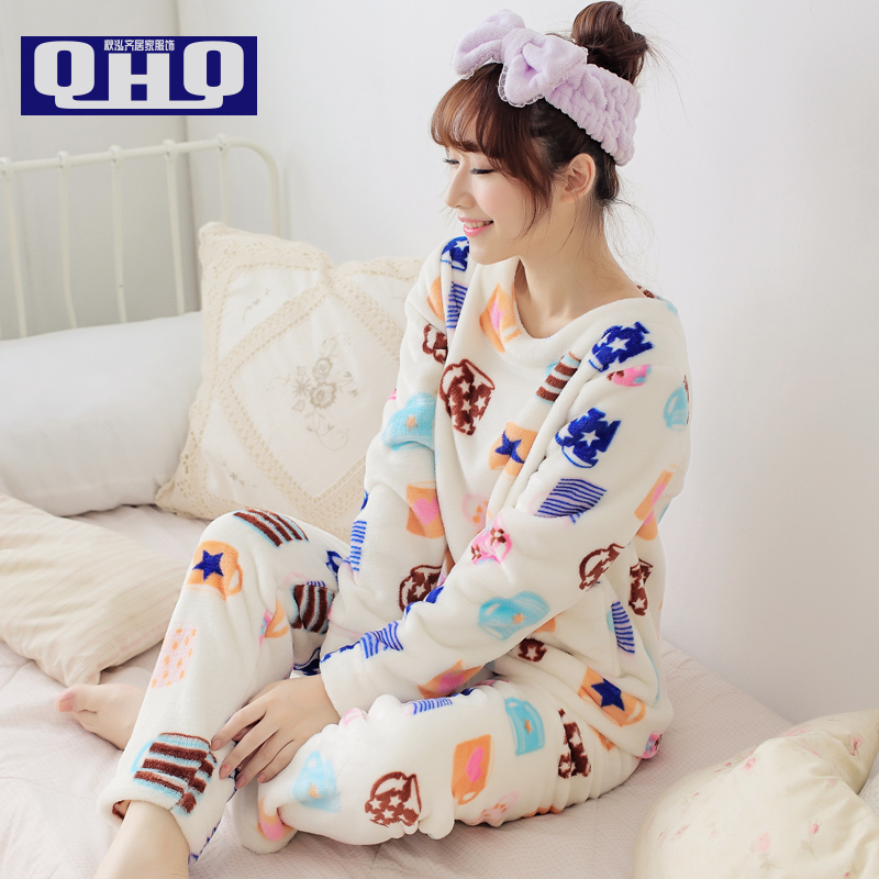Women Pajama Sets Winter 2015 Autumn Thickening Coral Fleece Sleepwear Girl Pullover Cartoon O-neck Long-sleeve Lady Lounge(China (Mainland))