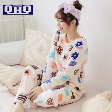 Women Pajama Sets Winter 2015 Autumn Thickening Coral Fleece Sleepwear Girl Pullover Cartoon O-neck Long-sleeve Lady Lounge(China (Mainland))