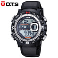 O T S Large Dial Shock Outdoor Sports Watches Men Classical Digital LED 50M Waterproof Military