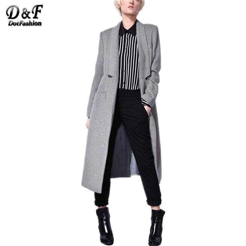 Fashion Women Overcoat Winter Autumn 2015 European Style Grey Long Sleeve Notch Lapel Pockets Plus Size Ladies Long Coat(China (Mainland))
