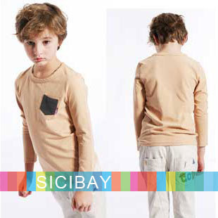 New Arrivals Boys Spring/Autumn Tops Fashion Pockets Design Cotton T-shirts, Free Shipping K0295