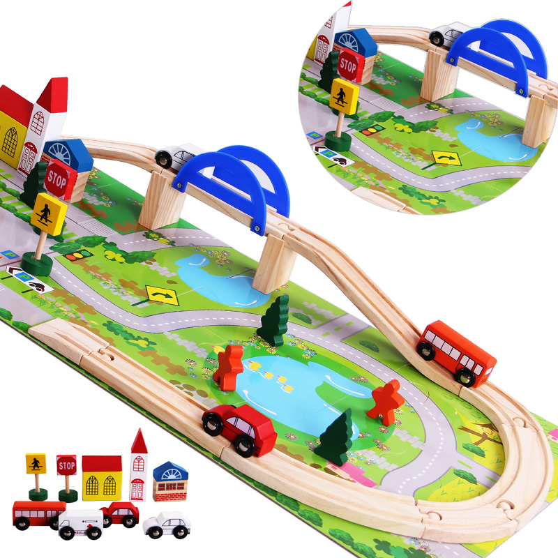 Wooden Children Traffic Rail Toy Disassembling Combination Train Track Intersection Baby Educational Toys(China (Mainland))