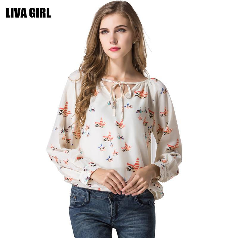 Elegant Summer Women Clothes Bird Print Long Sleeve V Neck Women Blouses Tops Plus Size Loose Style Chiffon Blusas Shirt Women(China (Mainland))
