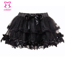 Sexy Black Mesh Lace Burlesque Short Saia Petticoat Tutu Mini Skirt Women Skirts 2015 Summer Dance Wear Adult Tulle Skirt
