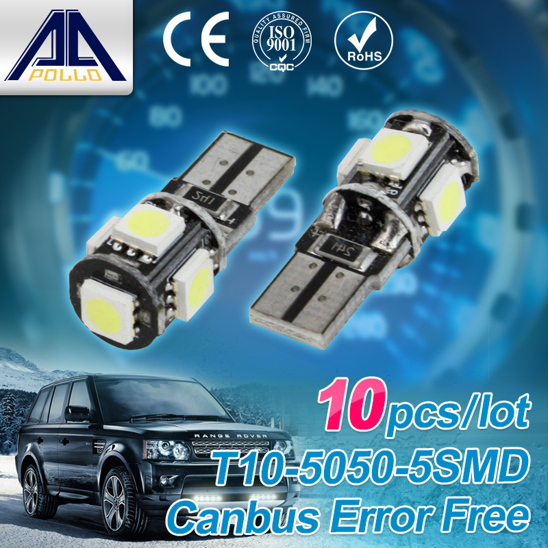 Wholesale 10pcs/Lot Canbus T10 5smd 5050 LED car Light NO OBC W5W 194 5 SMD Error Free working source super White Light Bulbs(China (Mainland))