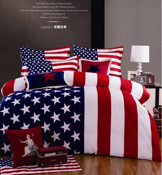 American flag bedding comforter set queen size duvet cover bedspread bed in a bag sheet linen quilt 100% cotton thicken winter(China (Mainland))