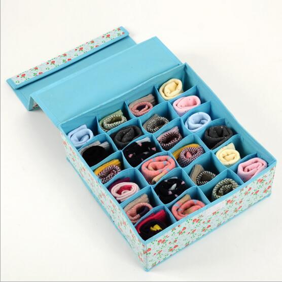 24 Grid Bag Non-Woven Fabric Folding Case Storage Box For Bra Socks underwear organizer for cloth print storage(China (Mainland))