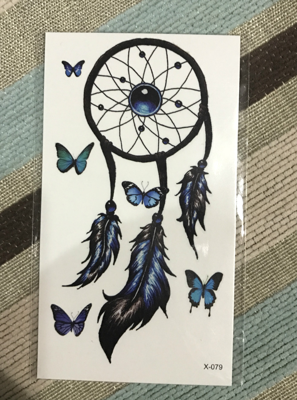 Free shipping Waterproof Temporary Tattoo Sticker 10.5*6 cm feather blue butterfly tattoo Tattoo Flash tattoos for men girl(China (Mainland))