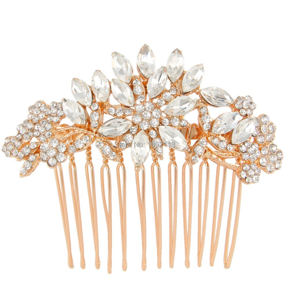 BELLA 2015 Rose Gold Plated Bridal Hair Comb For Valentine Gift Austrian Crystal Head Piece For Wedding Hair Piece Bridesmaid<br><br>Aliexpress