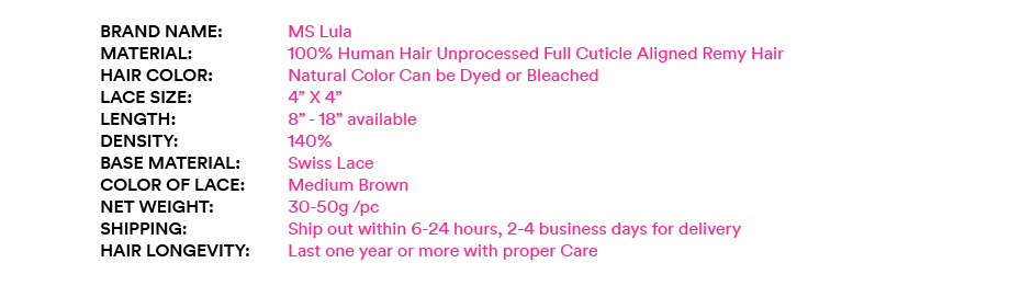 MS Lula Hair Lace Closure Brazilian Hair Natural Wave Swiss Lace with Baby Hair Human Remy Hair Free Shipping