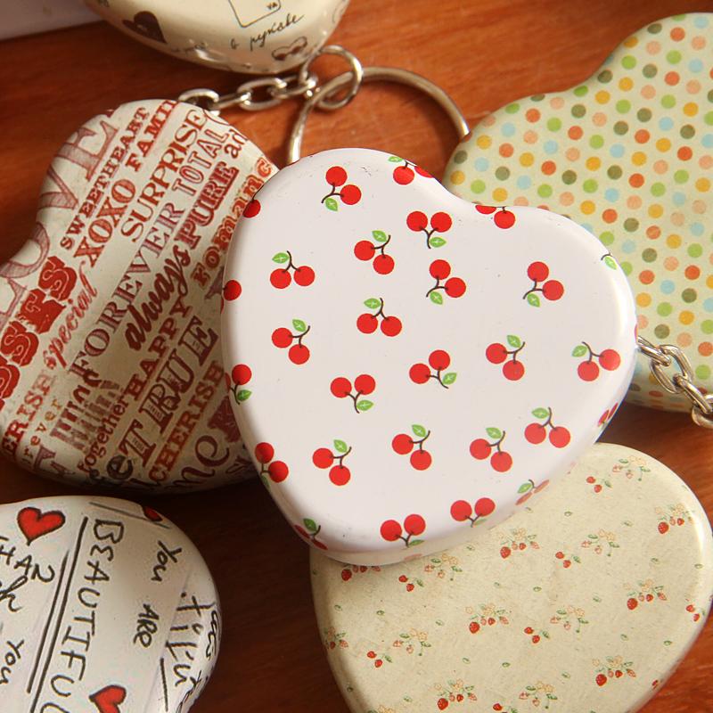 1pcs Portable Heart-shaped MiNitin box key chain iron gift candy storage box wedding seal Jewelry Pill Cases tin box container(China (Mainland))