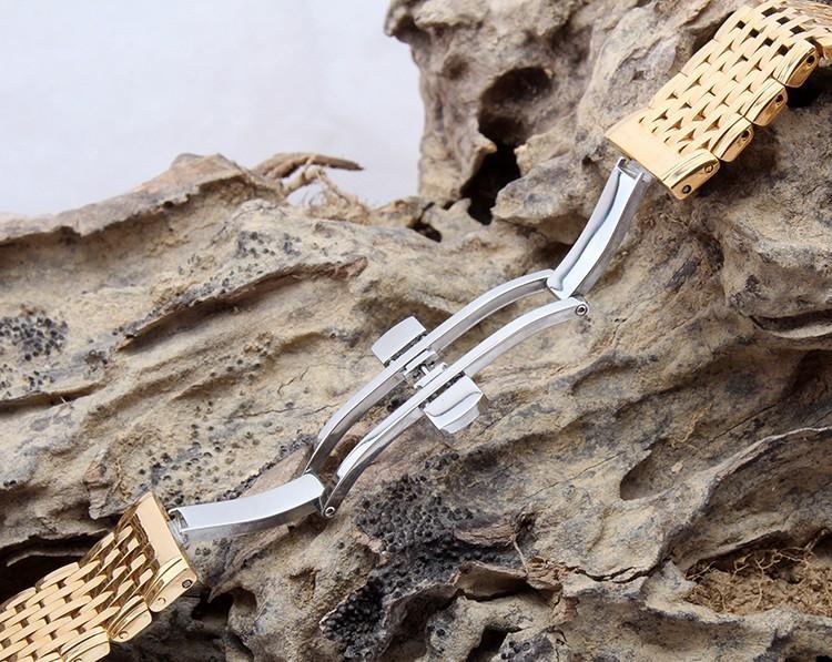 13мм и 18мм стальной браслет для часов золотистого цвета с защелкой