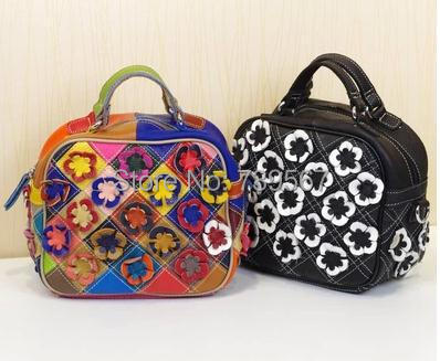 new 2014 new leisure magazine style color hand the bill of lading shoulder his cowhide leather flowers grid packet