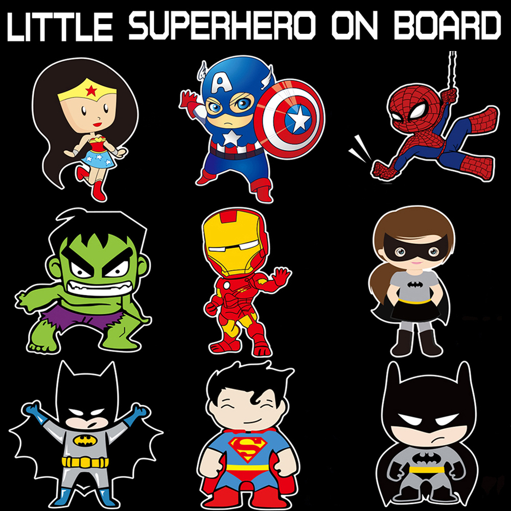 Litter Superheroes Baby On Board Reflective Car Stickers And Decals for chevrolet cruze ford focus vw