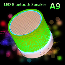 2017 Newest 1Pcs LED MINI Bluetooth Speaker A9 TF USB FM Wireless Portable Music LED Light For Phone PC with Mic Hot Selling(China (Mainland))
