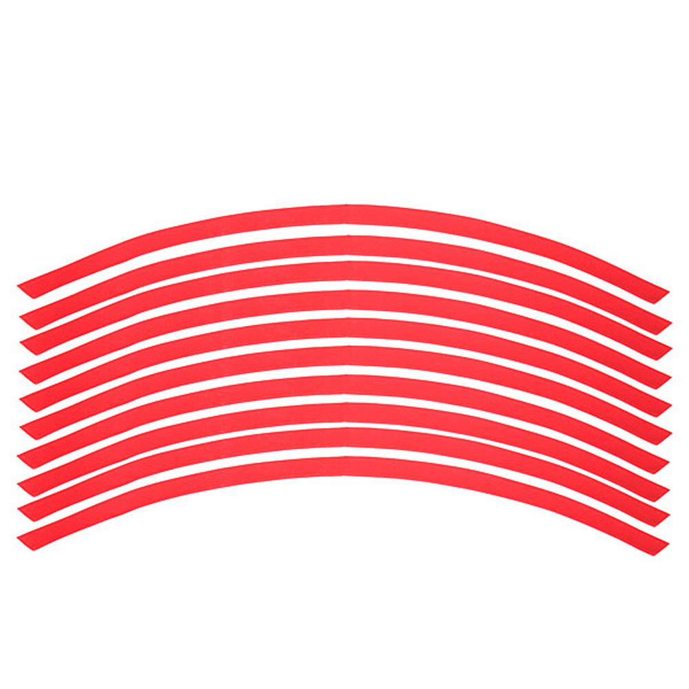 Shopping Time 16 STRIPES 10 Car Motorcycle Bike Wheel Rim Sticker Tape red