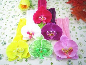 fashion artificial Orchid flower elastic headbands. baby hairband.Headbows . hair Accessories . new arrival