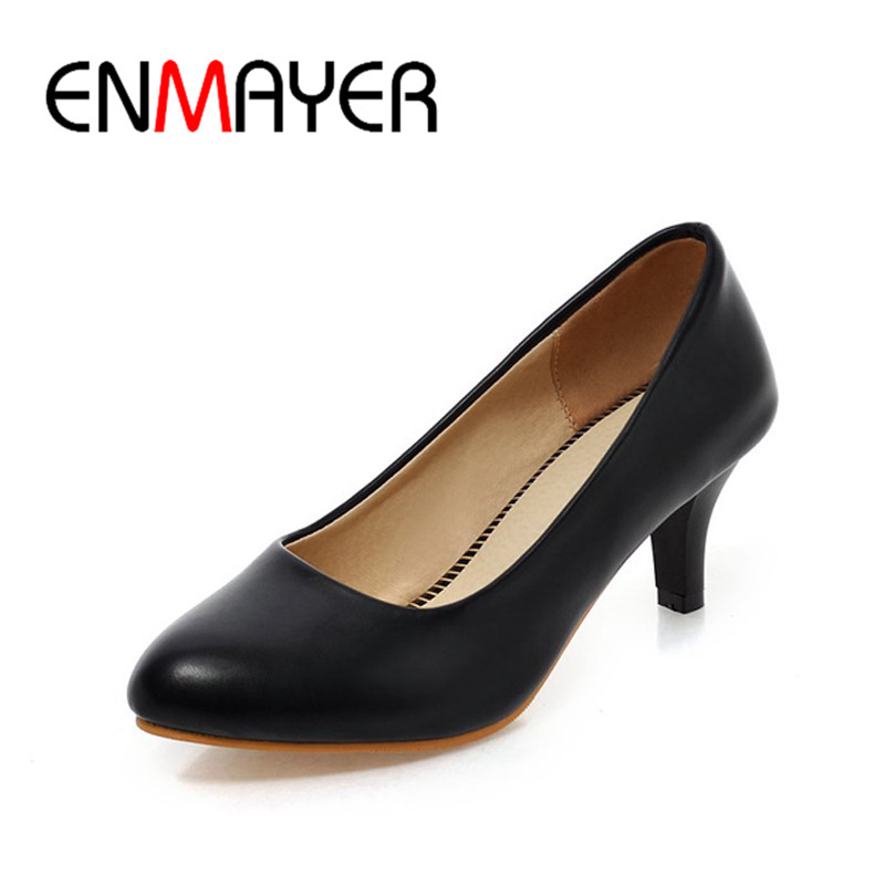 ENMAYER Slip on Pumps Office Career Style Pumps Spring Autumn Pretty Pumps Pointed Toe Thin Heel Pumps Big Size 34-45 Pumps