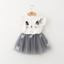 DHL EMS Free shipping baby girls toddlers summer Cat 2pc Set outfit T Shirt + Tutu Skirt 2 Colors(China (Mainland))