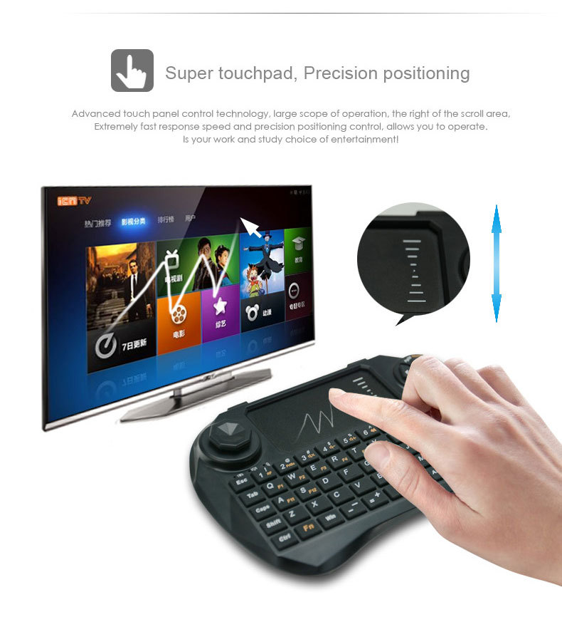 2.4G Mini Wireless Keyboard+Remote Control+Air Mouse 3 in 1 Touchpad for Mini PC/ Android/ TV BOX/ Laptop(China (Mainland))