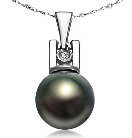 GVBORI 9mm-10mm Natural Tahiti Black Pearls Pendant  Fine Jewelry Free Shipping<br><br>Aliexpress