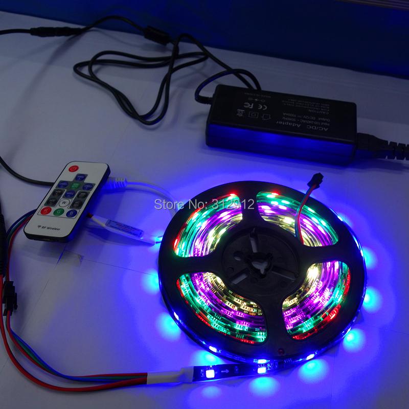 5M IP65 BLACK PCB 150leds(10pixels/m) WS2811 strip+RF pixel controller+12V/4A power adaptor kit<br><br>Aliexpress
