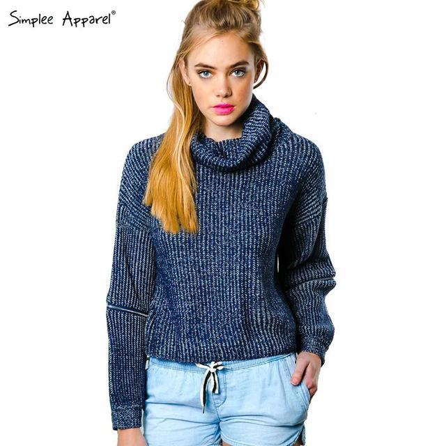 Beavant осень зима водолазка открыть молния рукав свитера женщин трикотажные негабаритных ...