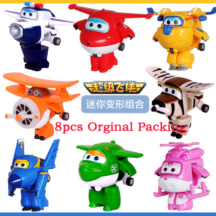 8PCS/Set Super Wings Mini Airplane ABS Robot toys Action Figures Super Wing Transformation Jet Animation Children Kids Gift(China (Mainland))