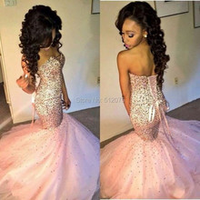 Charming Pink Tulle Mermaid Style Long Evening Dress 2015 New Arrival Formal Gowns With Beaded Backless Party Vestidos z70407(China (Mainland))