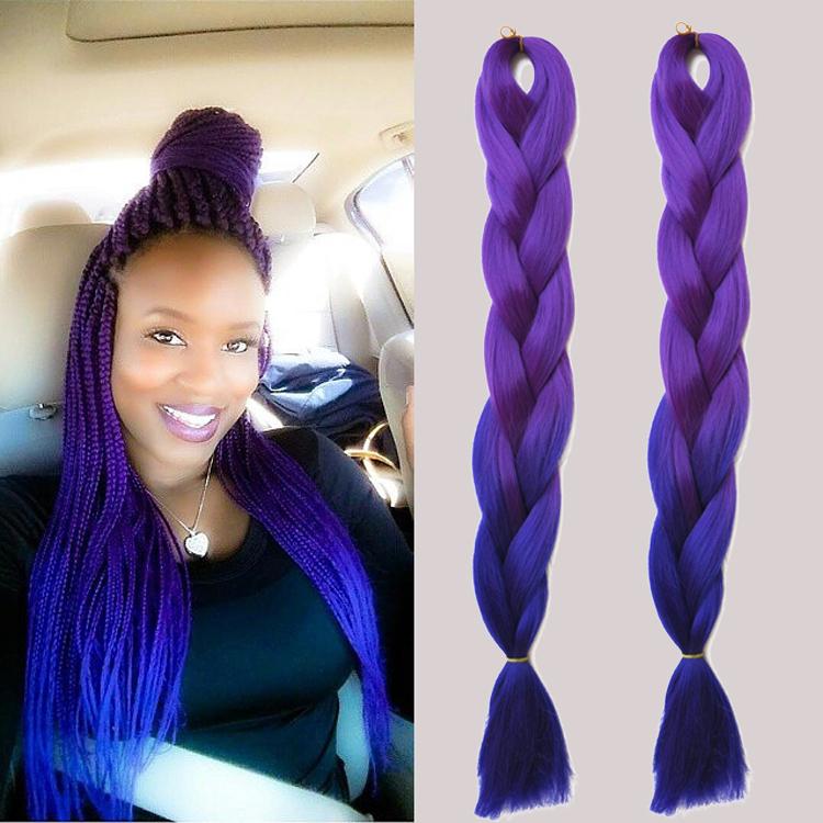 Ombre expression kanekalon purple braiding hair  24'' 5pcs100g synthetic high temperature fiber jumbo braid hair extension(China (Mainland))