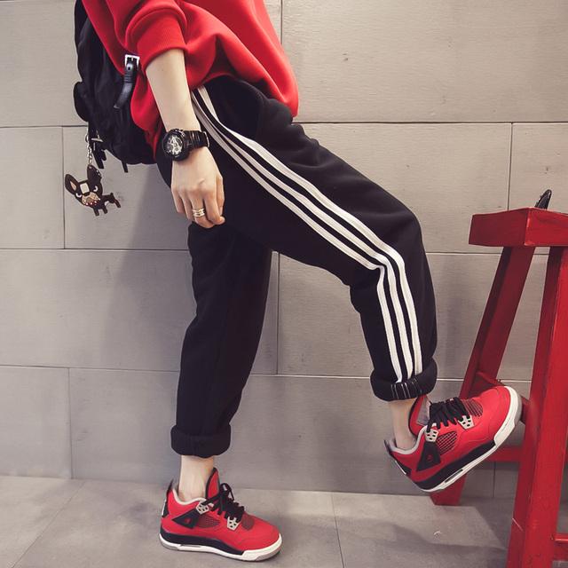 2015 осень зима женские спортивные брюки шаровары свободного покроя широкий полосы ...