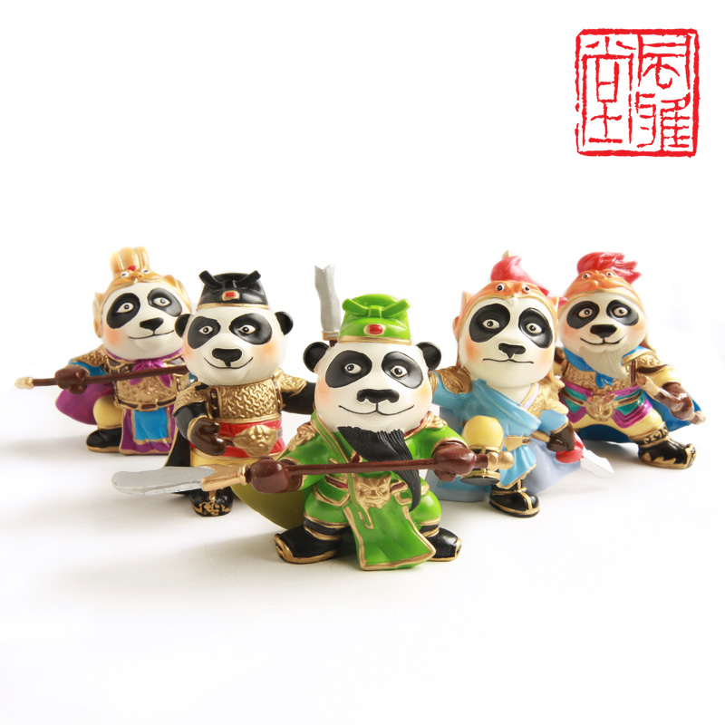 Chinese Style Kung Fu Panda doll three Guan small craft ornaments Office Bookcase Decor resin decoration free shipping(China (Mainland))
