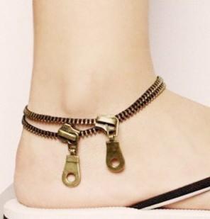 Zipper Ankle Bracelets Cheville Women Anklet Foot Accessories Barefoot Sandals Leg Chain Pulseras Tobilleras Summer Jewelry L532(China (Mainland))