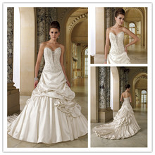 Vintage Wedding Dresses New Fashion 2016 Sweetheart Beaded Layered Taffetea Bridal Gown With Long Train Custom Made(China (Mainland))