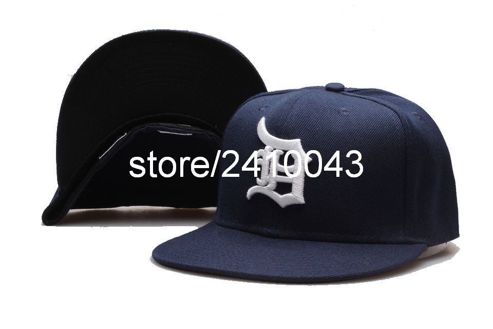 Men's Detroit Tigers Fitted caps in dark blue classic basic embroidered logo Full closed baseball hats(China (Mainland))