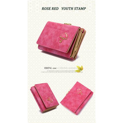 2016New Fashion Wallets Short PU Leather Letter Cute Little Umbrella Women Wallet Lady Handbag Bag W-PU-001(China (Mainland))