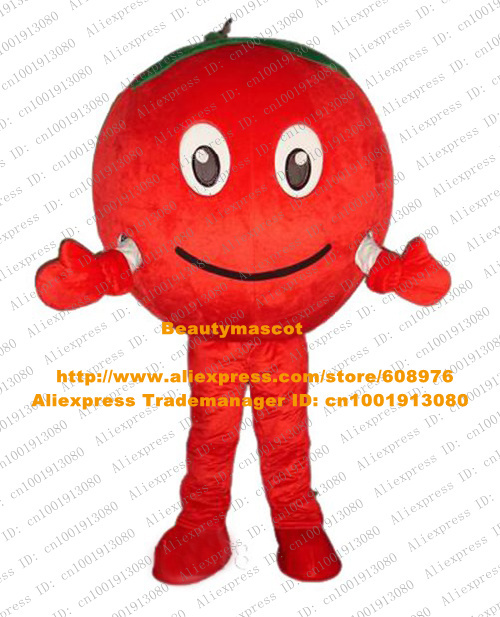 Fancy Red Tomato Apple Mascot Costume Mascotte Pomodoro Cherry La Cereza Adult With Green Leaves Happy Face No.1213 Free Ship(China (Mainland))