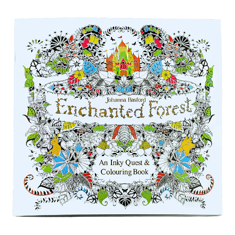 Enchanted Forest An Treasure Hunt and Coloring Book For Adults Children Relieve Stress adult colouring EBooks 24 pages<br>