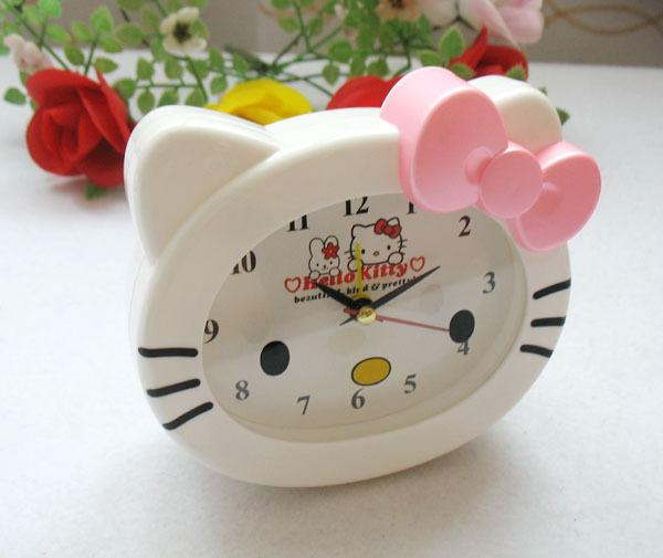 wholesale/retail, free shipping,Hello kitty headform bow cartoon alarm clock - 2(China (Mainland))