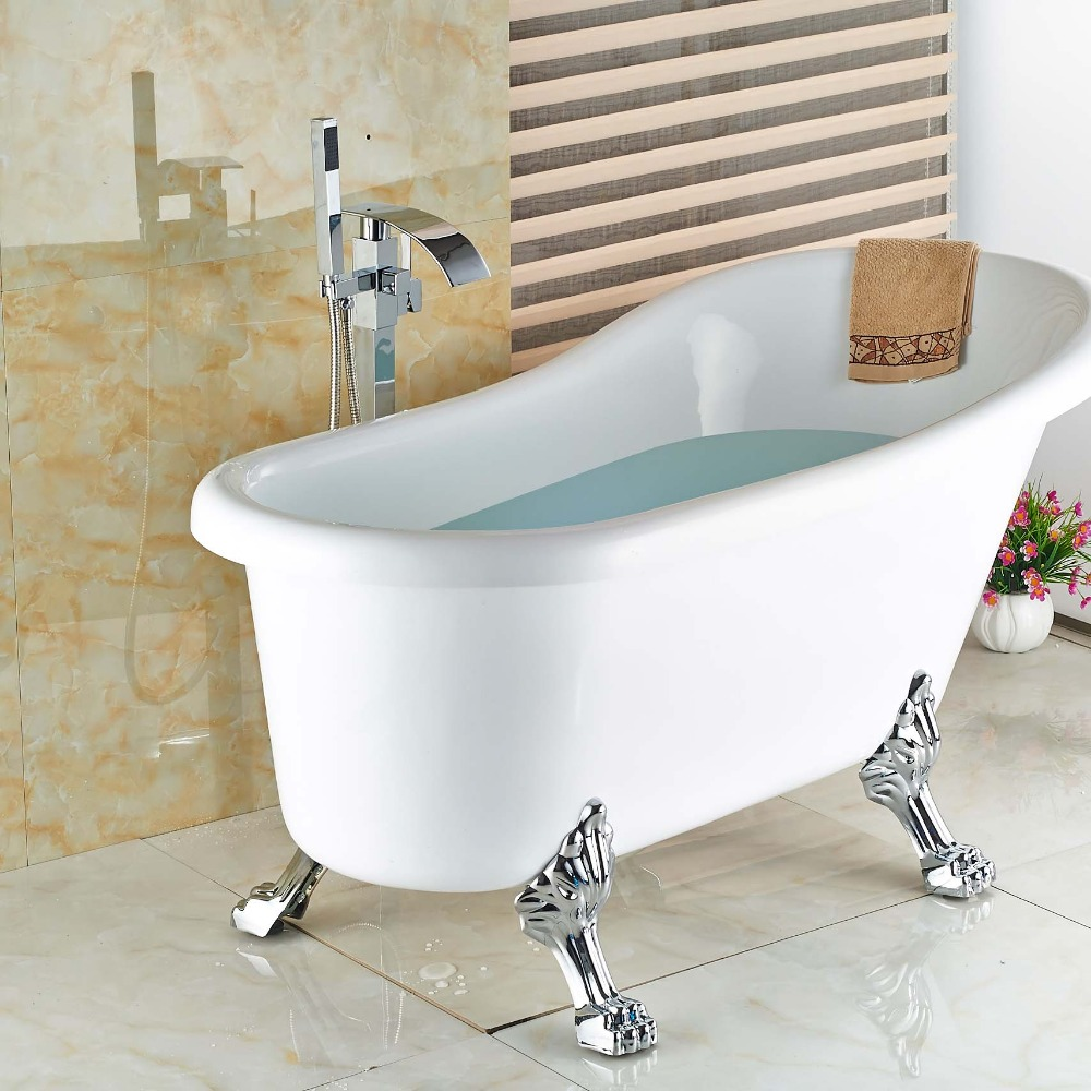 Floor Mount Bathroom Chrome Free Standing Clawfoot Bath Tub Filler Faucet Flo