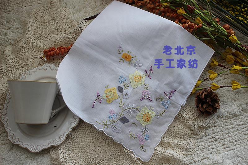 100% hechos a mano de algodón bordado de colores Drawnwork decoración de la boda pañuelo blanco 35 cm envío gratis 4 unids/lote A127(China (Mainland))