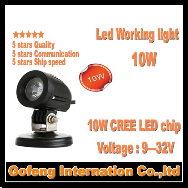 1PCS/LOT new products DC10-30V IP67 cree 10w led work light spot beam Offroad Truck working lamp free shipping(China (Mainland))