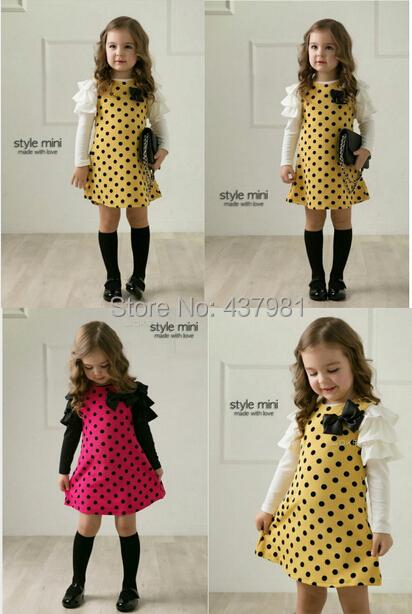 Free shipping, bowknot children dress, dot skirt for the girl, long sleeve dresses of the girls   5pis<br><br>Aliexpress