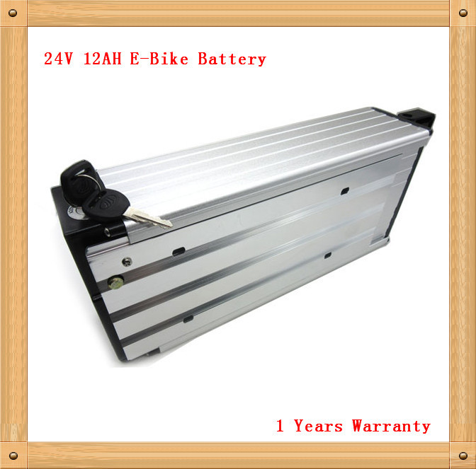High quality 350W 24V 12AH Electric Bike lithium rear rack Battery with BMS 29.4V 2A charger free shipping(China (Mainland))