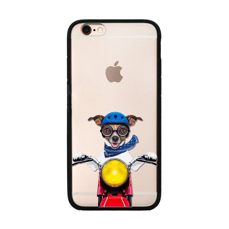 Cute Dog Cat Animals Clear Case For iPhone 6 6s Plus 6Plus 5 5s SE Soft TPU Rubber + Transparent Hard Acrylic Phone Back Cover
