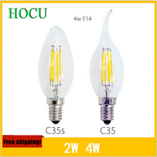 New Design 2W 4W 6W E14 AC220V E14 E27 LED Filament Candle Bulbs 360 Degree Led Bulb Light Lamp Free Shipping