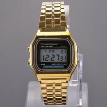 Vintage Womens Men Stainless Steel Square LED Digital Alarm Stopwatch Wrist Watch Free Shipping relogio masculino Y50*MHM102#M5