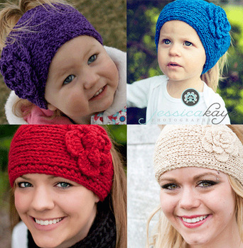 Handmade knitted Headbands crochet Flower headwrap new style headwear mix color 300pcs