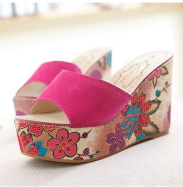 2015 Size34-39 Women wedge leather sandals high-heeled slippers color matching flowers C156<br><br>Aliexpress