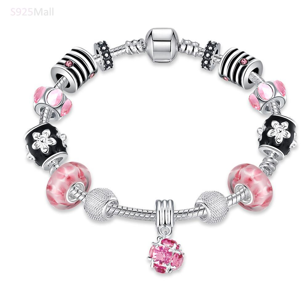 oil drip charms bracelet pink color Crystal European Beads with Murano Glass Beads fit Snake Chain bracelet bangle(China (Mainland))